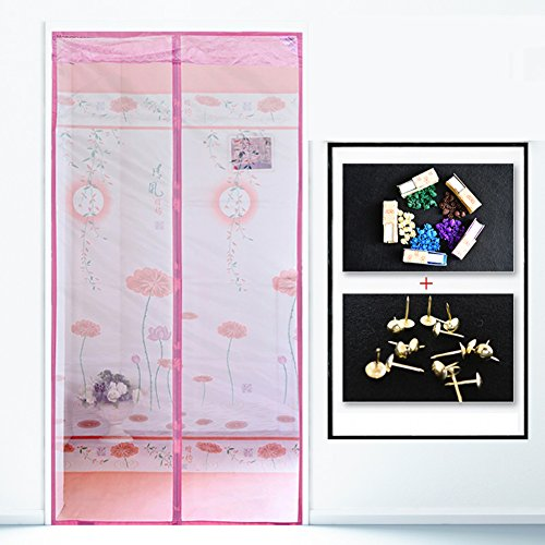 210 Salmon - kele Encryption Mosquito screen, Summer Silent Magnetic Soft screen door Home Bedroom Fly Mosquito Ventilation Screen window Salmon-C 120x210cm(47x83inch)