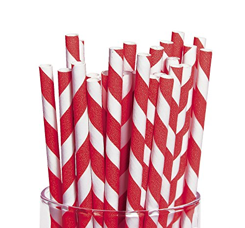 Red Striped Paper Straws 24 count