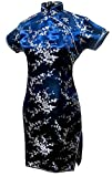 7Fairy Women's Navy Blue Floral Mini Chinese Evening Dress Cheongsam Size 12 US