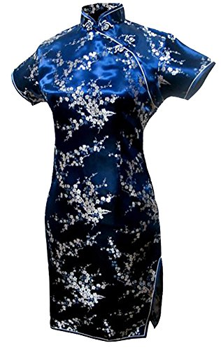(7Fairy Women's Navy Blue Floral Mini Chinese Evening Dress Cheongsam Size 2 US)