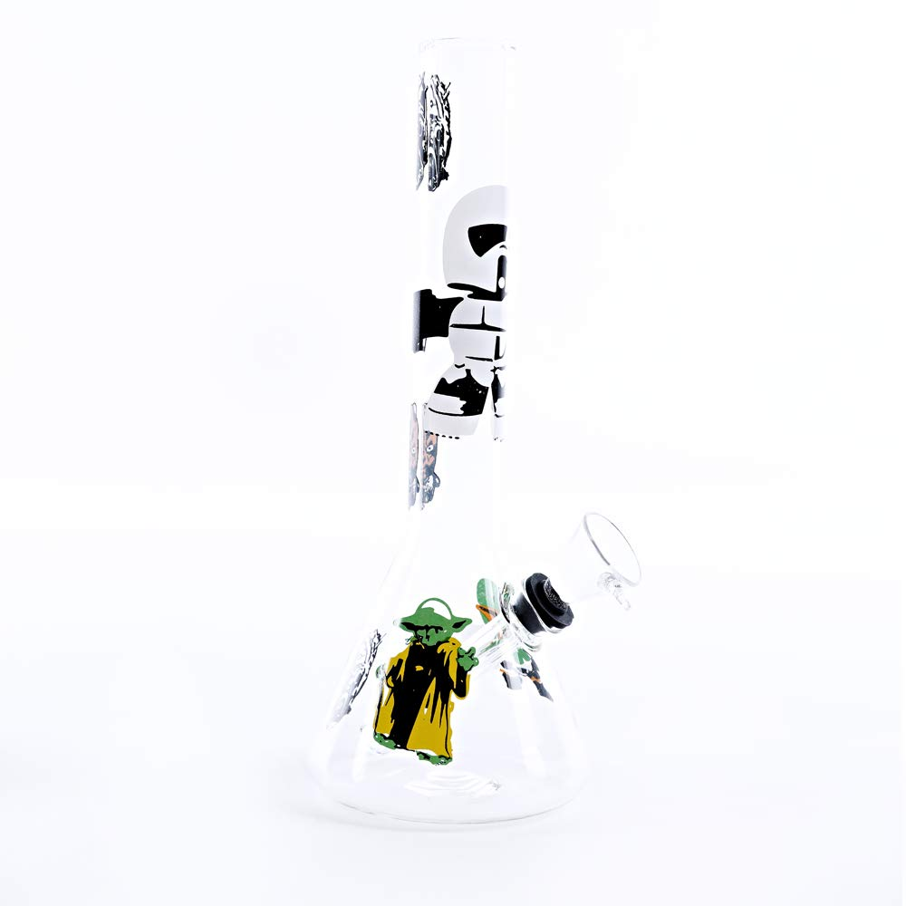 HSCTC Handmade Glass Crafts Pipe, 8 Inch Dual Water Percolator Glass Big Water Chamber - Easy to Grip and with Ice Shelf, Unique Robot Design