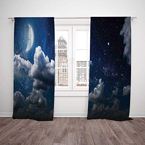 (Polyester Window Drapes Kitchen Curtains,Clouds,Celestial Solar Night Scene Stars Moon and Clouds Heaven Place in Cosmos Theme,Dark Blue White,Living Room Bedroom Kitchen Cafe Window Drapes 2 Panel)
