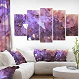 Designart PT14476-373 Purple White Natural Amethyst Geode Large Abstract Canvas Artwork,,60x32