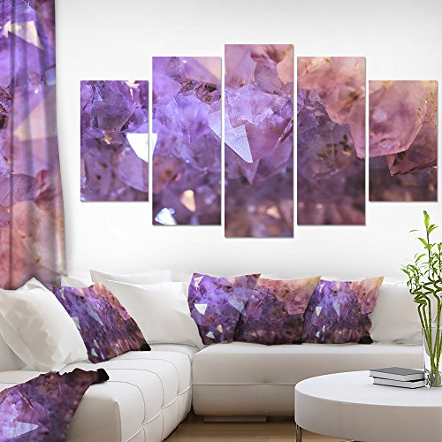 Designart PT14476-373 Purple White Natural Amethyst Geode Large Abstract Canvas Artwork,,60x32 by Design Art