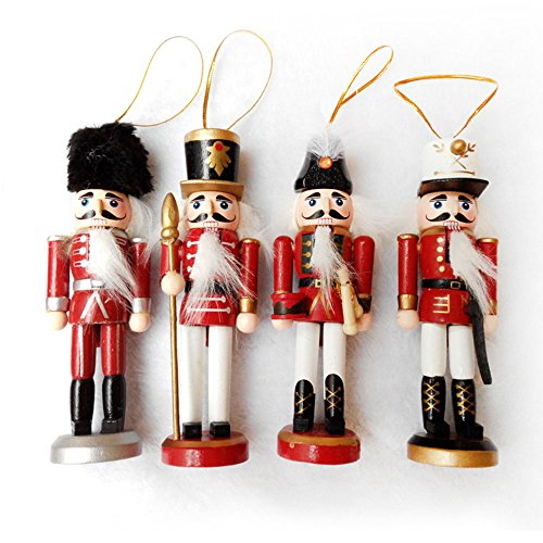 Maphissus Wooden Christmas Nutcracker Ornaments Set (Pack 4) 15CM= 6INCH