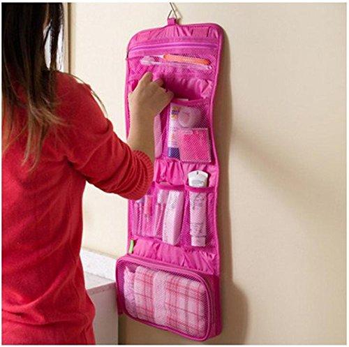 Edtoy 1 piece lot Men Women Portable Organizer Bag Hanging Type Foldable Travel Storage Bag Free Bags rose red