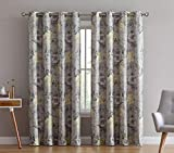 HLC.ME Layla Floral 100% Full Blackout Room Darkening Thermal Insulated Curtain Grommet Panels for Bedroom - Energy Efficient, Complete Darkness, Noise Reducing- Set of 2 (Yellow, 50' W x 63' L)