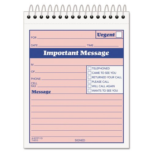 (Tops Duplicate Important Message Book - 100 Sheet(s) - Spiral Bound - 2 Part - Carbonless - 6