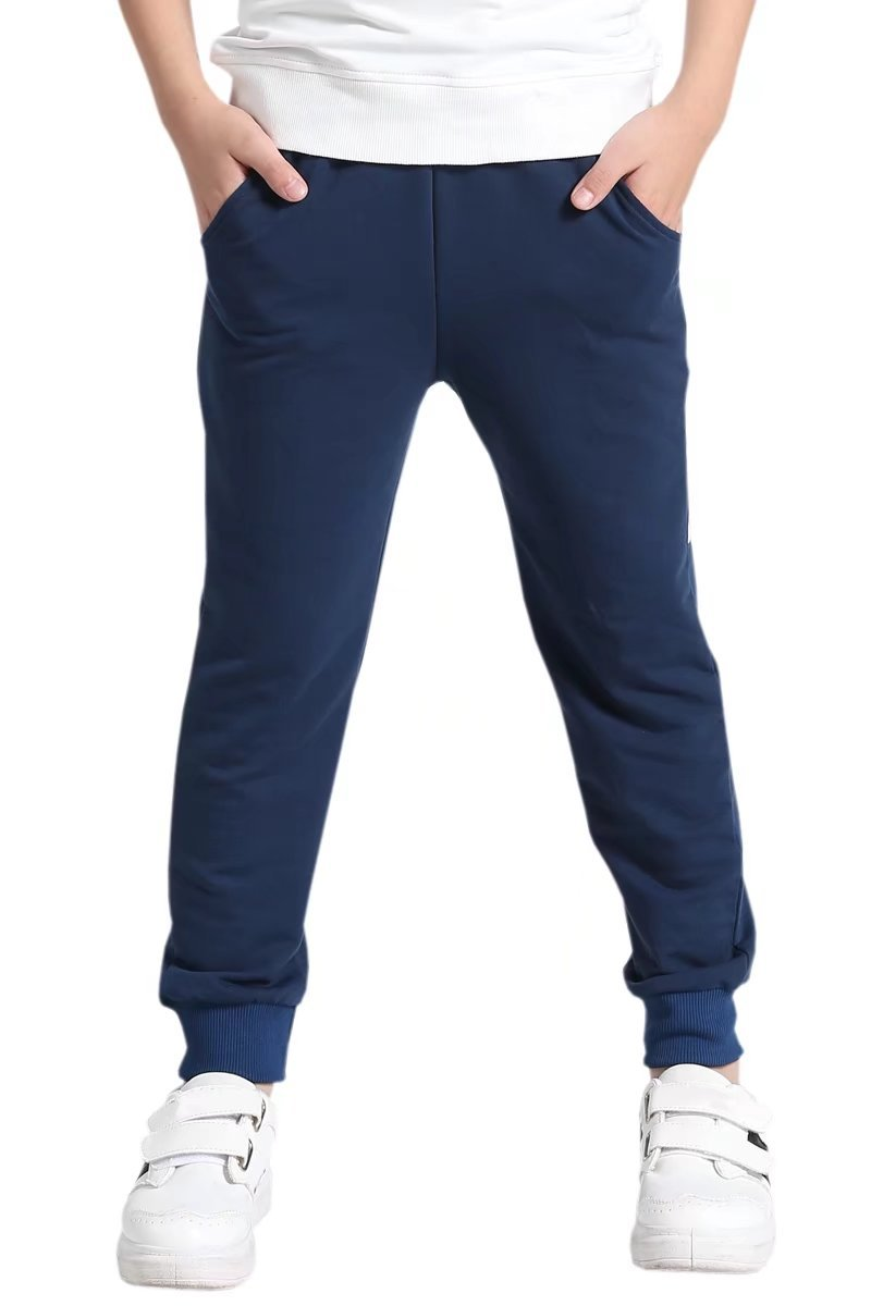AOWKULAE Boys Terry Cotton Active Sports Elastic Waist Joggers Sweat Pants for Little Boys Navy Blue, Age 4T-5T (4-5 Years) = Tag 120