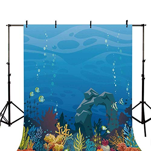 Aquarium Stylish Backdrop,Colorful Coral Reef with Fishes and Stone Arch Under The Sea Natural Seascape Decorative for Photography,78.7