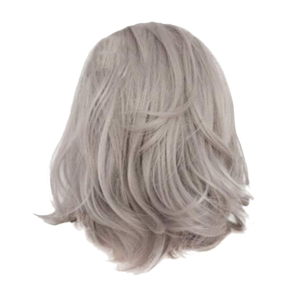 Wig,SUPPION Women's Fashion Front lace Wig Short Wave Gray Natural Looking Women Daily Cury Wigs - 16 inches - Cosplay/Party/Costume/Carnival/Masquerade (Gray)