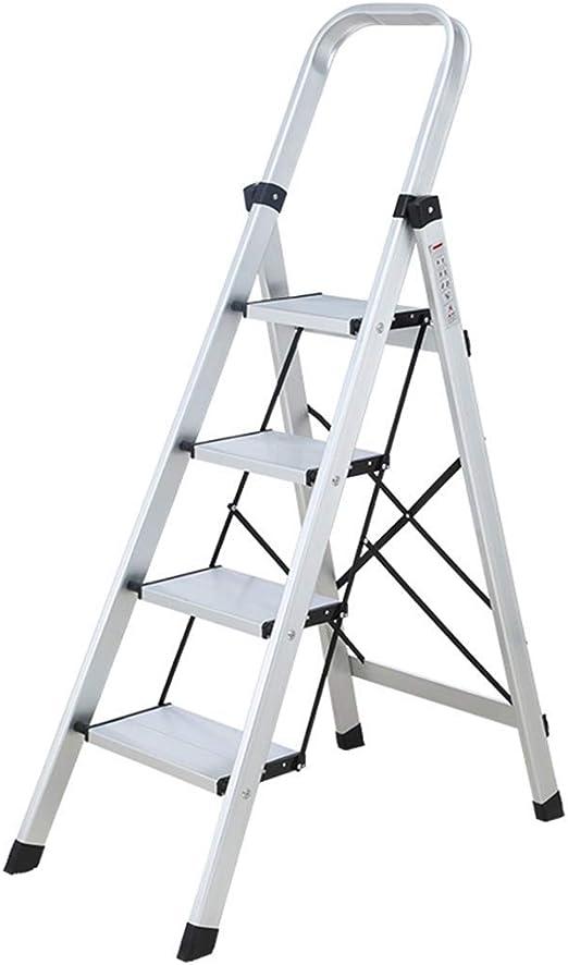 MMWYC Escalera Plegable de 4 peldaños con empuñadura Conveniente Antideslizante Pedal Robusto y Ancho 330 Libras Libra de Aluminio portátil y Plata 4 pies / 33.8x17.7x57 Pulgadas: Amazon.es: Hogar