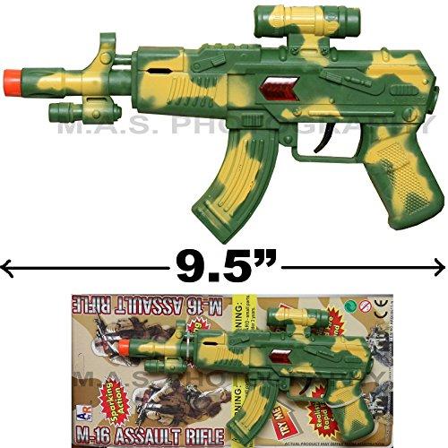 TOY SWAT ASSAULT PISTOL KID BOY MACHINE GUN INCLUDES SOUND AND SPARKS CAR-15 (Clarinet Plastic Barrel)