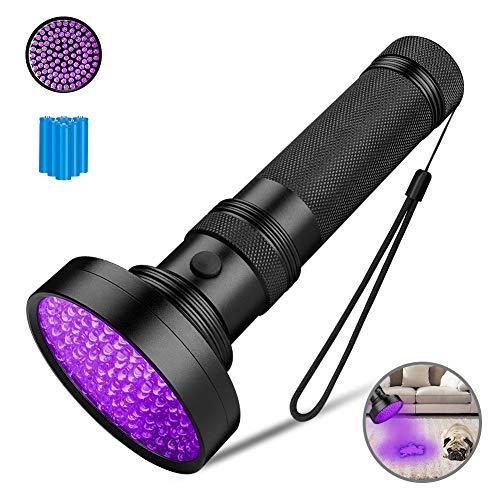 Coquimbo UV Schwarzlicht Taschenlampe mit 100 LEDs, Ultraviolett Handlampe Heimtierurindetektoren für unechte Banknoten, Urin von Hunde, Teppich (6X AA Batterien enthalten)