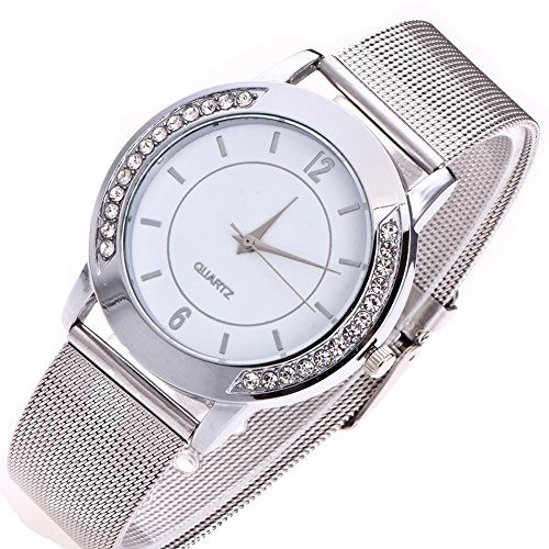 Women's Fashion Casual Crystal Golden Stainless Steel Analog Quartz Wrist Watch Retro Exquisite Luxury Classic Bracelet Watches for Ladies (Silver) (Band Leather Calendar Watch Ladies)