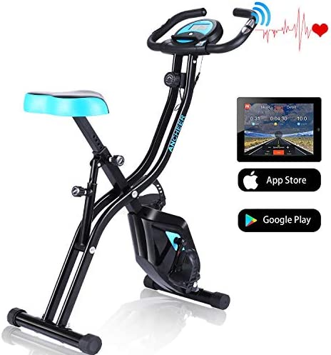 ANCHEER APP Control Stationary Bike EB67- Super Mute Folding Indoor Exercise Bike with Tablet Stand and Heart Monitor – Perfect Home Exercise Machine for Cardio Fitness