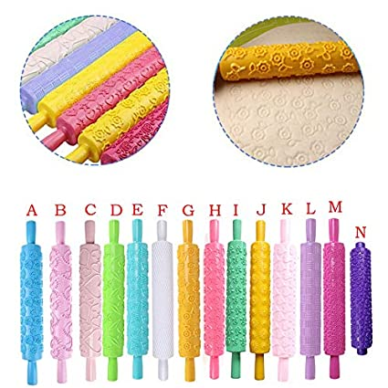 Icing Clay A Pastry Hoshell Cake Decorating Embossed Rolling Pins,Textured Non-Stick Designs Patterned,Ideal Fondant Dough Best Kit Rolling Pins