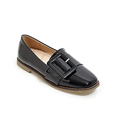 A&N Womens Closed-Toe No-Closure Square-Toe Patent-Leather Loafers Shoes