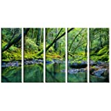 Forest stream lake print on canvas, framed and ready to hang, modern home and office wall décor, river stream canvas print, 5 panel print, rainforest wall art