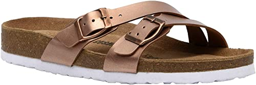 CUSHIONAIRE Womens Luna Cork Footbed Sandal with Comfort