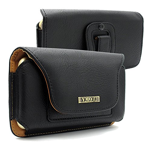 VMOJO(TM) Universal Leather Wallet ID Card Slot Horizontal Belt Clip Holster Case,Outdoor Carrying Bag (Black /Size L) | for iphone 6s plus,iphone 7 plus,iPhone 8 Plus,Google Pixel 2 XL