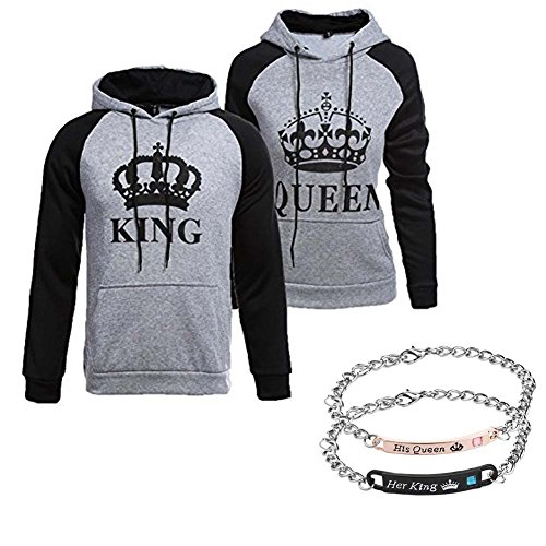 YJQ King Queen Matching Couple Pullover Hoodie Sweatshirts + Bracelets Grey Men M +Women S by YJQ