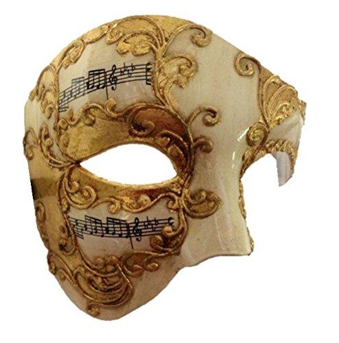 Gold Venetian Phantom Half Fancy Mask Adult Men Women Musical Notes Opera