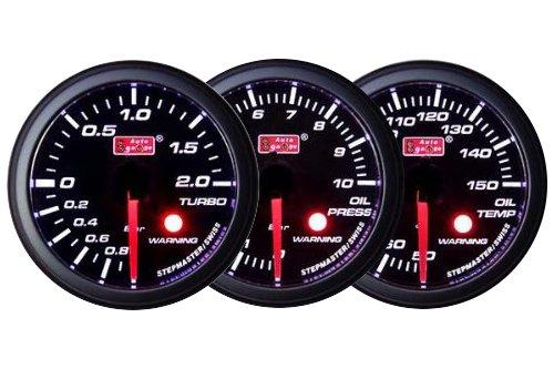 オートゲージ AUTOGAUGE ブースト計 油圧計 油温計 3点セットC 3連メーター SM 60 SM60シリーズ 60mm 60Φ スモークレンズ B00GHH3K6Q