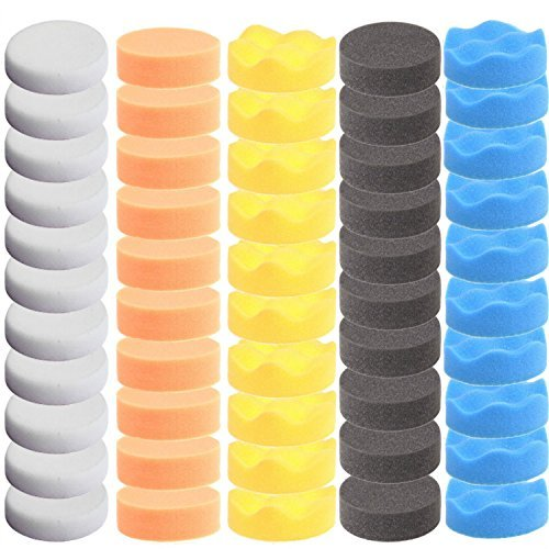 ZFE 50pcs 3''/80mm Compound Drill Buffing Sponge Pads Polishing Pad Buffer Pad Kit for Car Polisher Boat Polishing,Motocycle Sanding, Polishing, Waxing by ZFE (Image #1)