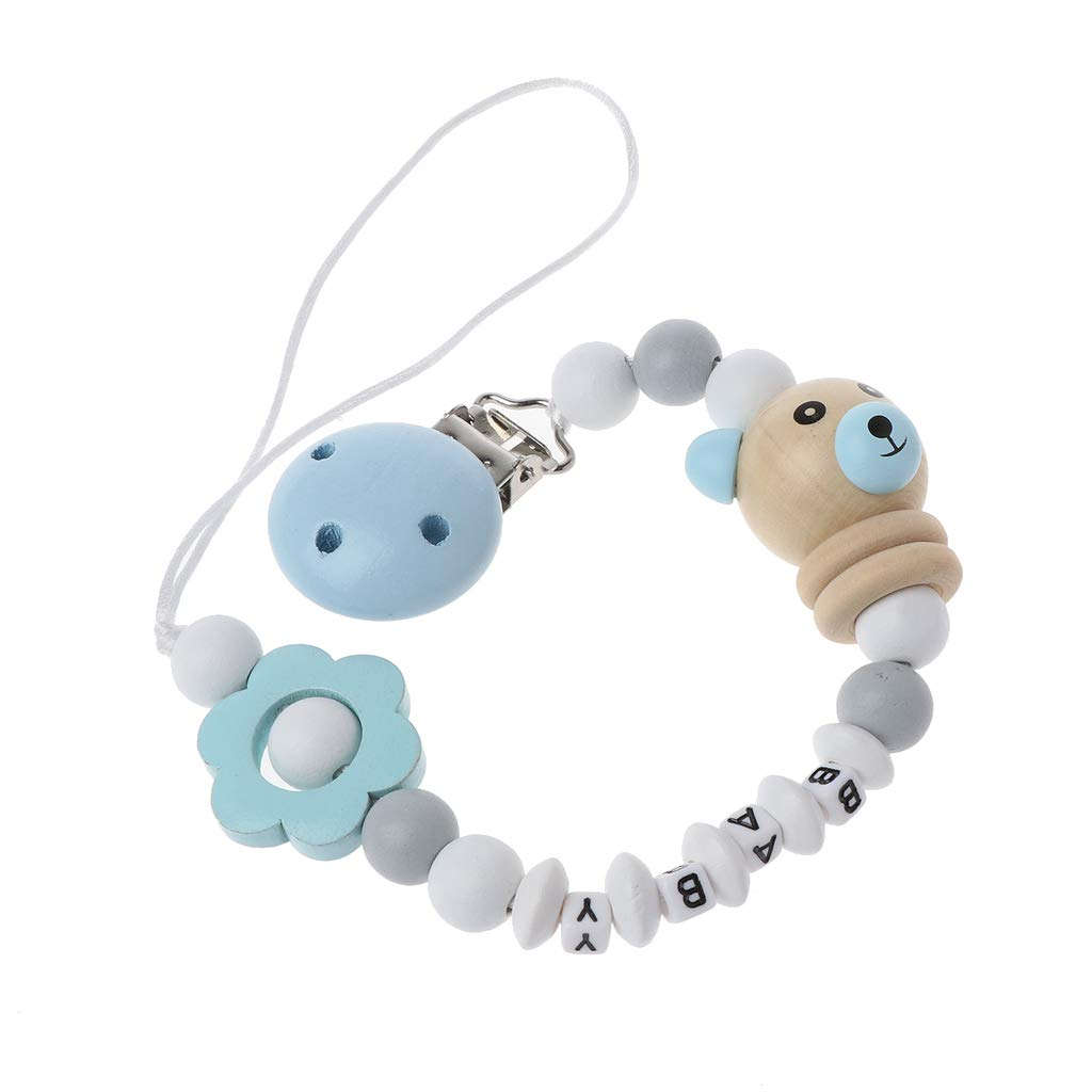 Cutebility Baby Pacifier Clip Pacifier Chain Panda Shape Hand Made Cute Colourful Beads Dummy Clip Baby Soother Holder for Baby Kid Blue