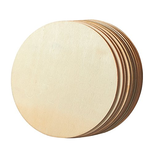 Unfinished Wood Circle - 10-Pack Round Natural Rustic Wooden Cutout for Home Decoration, DIY Craft Supplies, 8-inch Diameter, 0.1 inch Thick by Juvale