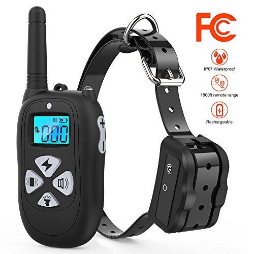 Tigygy Dog Training Collar 1800ft Remote Control [2018 Upgraded Version] Waterproof Rechargeable with Tone/Vibration/Electric Shock Modes for Small Medium Large Dogs -No Problem with Swimming/Shower For Sale