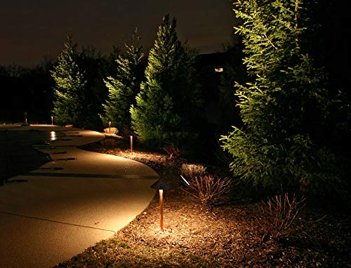 LEONLITE 12-Pack 3W LED Landscape Light, 12V Low Voltage, Waterproof Outdoor Pathway Lighting, Aluminum Housing, Mushroom Shape, UL-Listed Power Cord, 5 Years Warranty, 3000K Warm White by LEONLITE (Image #4)