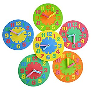 1 Piece – 9.8 Inch Educational EVA Foam Clock for Kids, Clock Toys to Teach Time for Toddlers