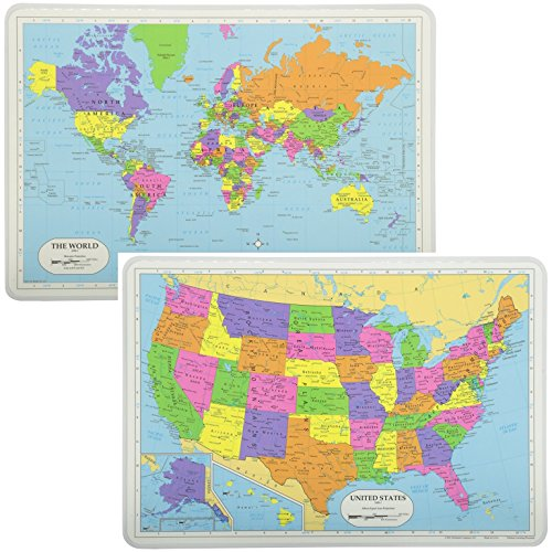 Painless Learning Educational Placemats Sets USA Map And World Map Non Slip Washable - Laminated Rectangular Tabletop