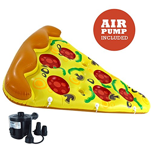 72' Sun Design (Luxury Inflatable Pizza Pool Float - Includes Pump - Giant Slice of Pizza Swimming Pool Raft)