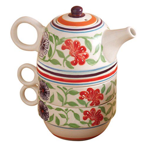 for Two Set Ceramic Exotic Flower Design (One Stacking Teapot Set)