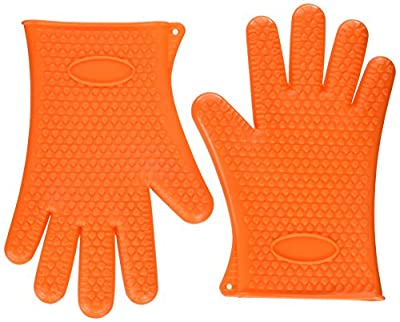 Xcellent Global Silicone Gloves (2 Pcs) for BBQ & High Temperature Food cooking - High Heat Resistant, waterproof, Hand Guard Gloves, Non-toxic, Multi-function - Great for Use in Handing High Temperature Food M-HG043
