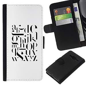 KLONGSHOP // Tirón de la caja Cartera de cuero con ranuras para tarjetas - Texto Blanco Negro Cartas inteligente minimalista - Samsung Galaxy Core Prime //