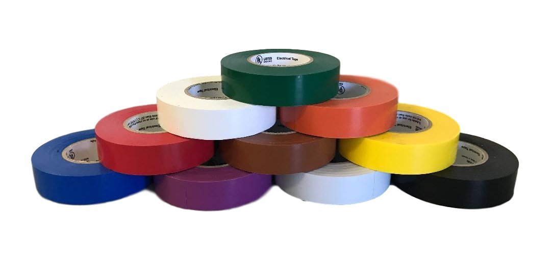 Protak Mixed Color Electrical Tape, 3/4'' width x 60' length, PVC 7mil, Pack of 10 Rolls