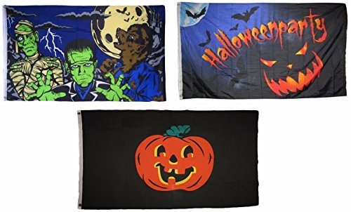 ALBATROS 3 ft x 5 ft Happy Halloween 3 Pack Flag Set #5 Combo Banner Grommets for Home and Parades, Official Party, All Weather Indoors Outdoors ()