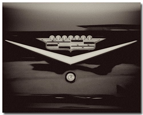 (Black and White Cadillac Crown Photograph, Masculine Art, Vintage Classic Car)