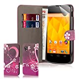 32nd® Design book wallet PU leather case cover for Google Nexus 5 + screen protector and cleaning cloth - Love Heart