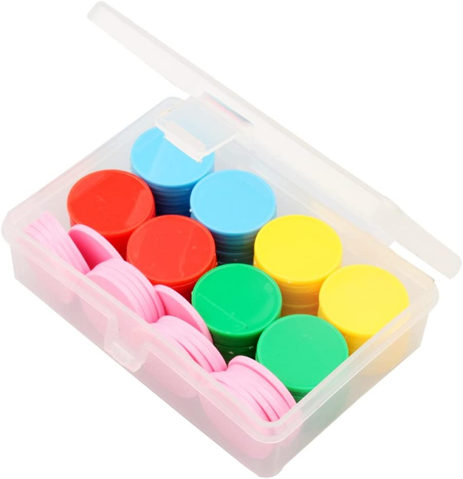 c.24-25mm Lip c.4.5mm Plastic Lipped Counters Maths Games Gaming Multi Colour