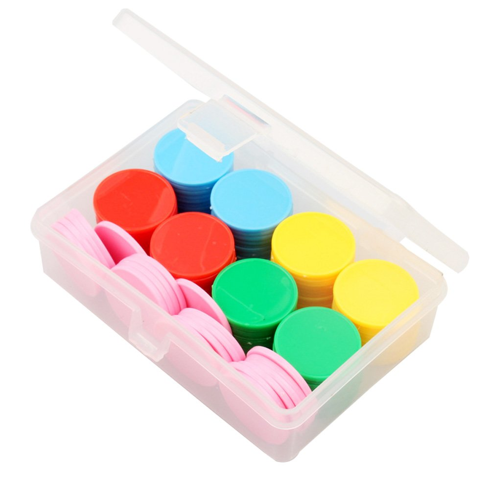 Bingo Chips,100 Pcs Plastic Counters Counting Colored Chips Bingo Markers, 25 mm Mixed Colors Plastic Chips for Games, with Storage Box Vidillo