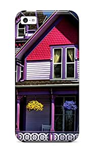 Ultra Slim Fit Hard ManuelAW Case Cover Specially Made For Iphone 5c- Cute Purple House