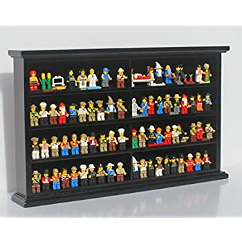 Kid Safe Toy Minifigures Miniatures Figurines Display Case Wall Cabinet  Stand, Solid Wood (