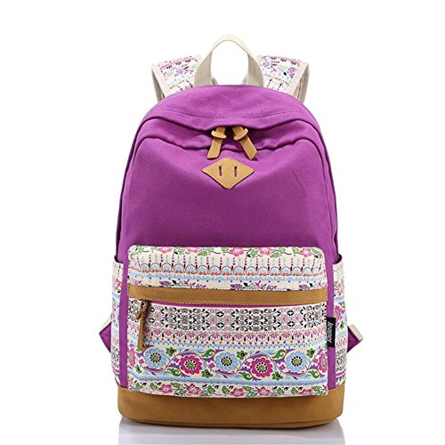 Korean Style Canvas Flower Floral Casual Daypacks College Student Satchels, Purple