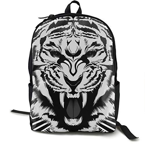 High School Outdoors Bicycle Backpack Daypack Durable Polyester Multipurpose Anti-Theft Daypack Large Capacity Shoulder Bag, Fierce Tiger King Black White