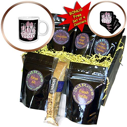 3dRose Sven Herkenrath Dog - Iam Only Talking to My Dog Today Doggy Pet Friend - Coffee Gift Basket (cgb_309134_1)